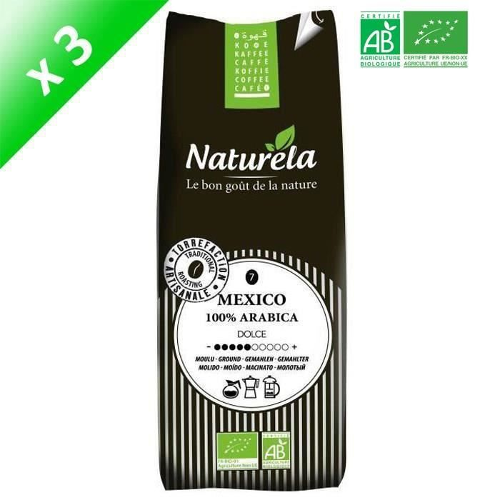 [LOT DE 3] Naturela -250g- Café Mexico 100% Arabica Moulu n° 7 Bio