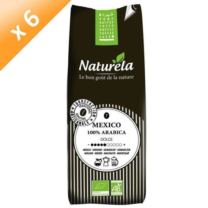 [LOT DE 6] Naturela -250g- Café Mexico 100% Arabica Moulu n° 7 Bio