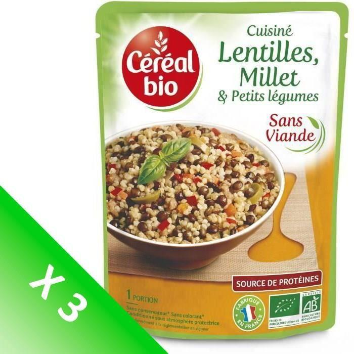 [LOT DE 3] CEREAL BIO Lentilles et millet cuisinées Bio - 250 g