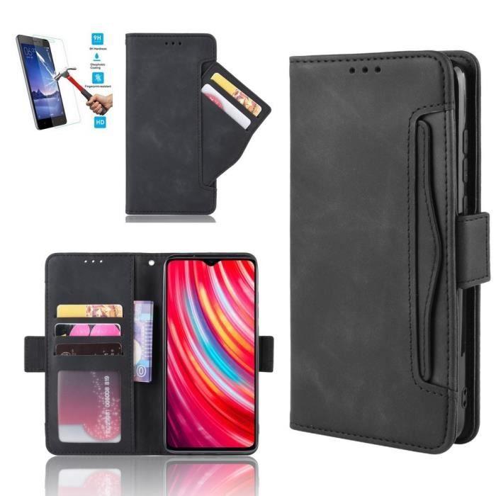 Etui Samsung Galaxy A51 Portefeuille Noir + Film Verre Trempé - Housse Coque En Cuir Pu hfs-house®