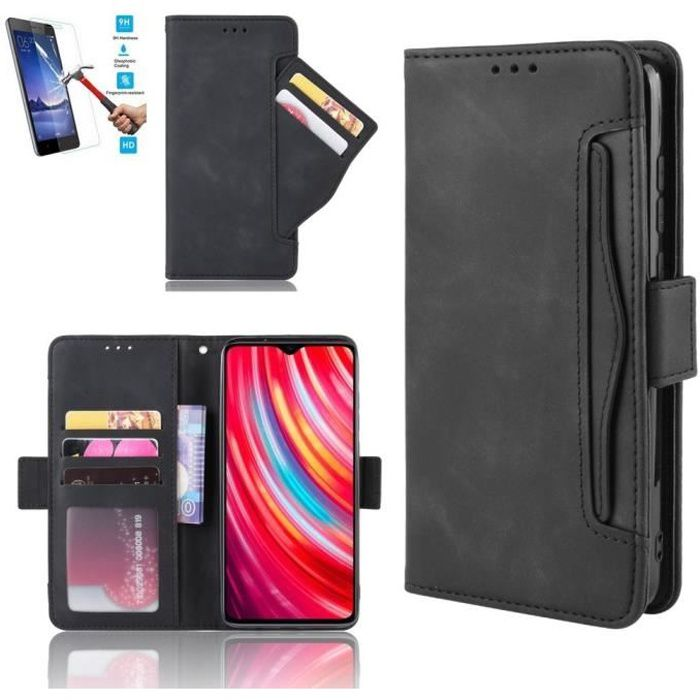 Etui Samsung Galaxy A41 Portefeuille Noir + Film Verre Trempé Coque Housse En Cuir Pu - 5 Emplacement Carte hfs-house®
