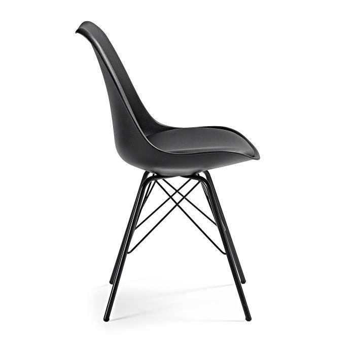 Chaise Ralf avec pieds en acier, noir