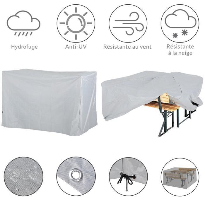 Bâche de Protection pour Ensemble Table et bancs 180x135x82cm 420D Oxford Anthracite Housse Protection Meuble Jardin résistante