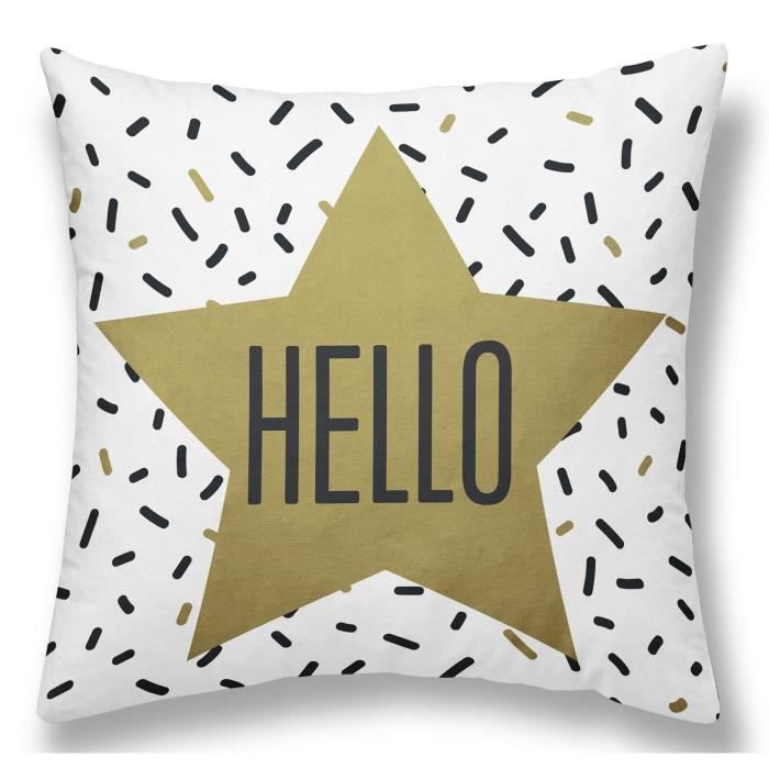 TODAY Coussin Déhoussable GOLD LABEL HELLO 40x40 cm blanc, noir et or