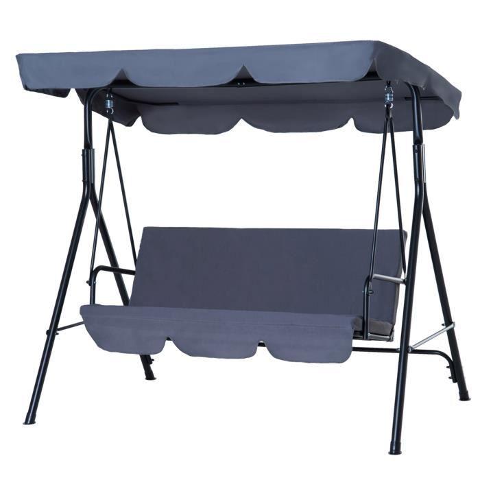 Balancelle de jardin 3 places toit inclinaison réglable coussins assise et dossier 1,72L x 1,1l x 1,52H m acier noir polyester gris