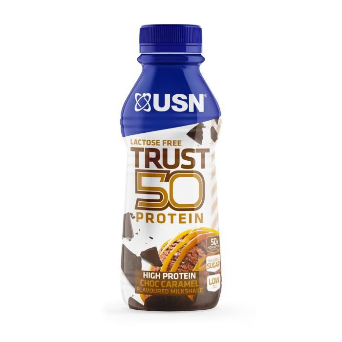 Lot de 6 boissons Chocolat Caramel 500mL USN Trust Protein Fuel 50 - bleu - TU