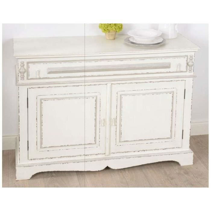 Grand buffet blanc et gris patin ornement dim achat for Meuble patine blanc gris