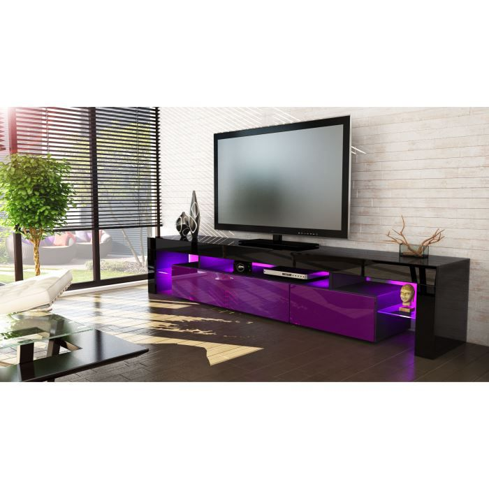 meuble tv 199x35x38 laqu noir et violet option le achat vente meuble tv meuble tv 199x35x38. Black Bedroom Furniture Sets. Home Design Ideas