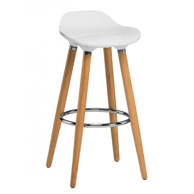 tabouret de bar design en bois et abs blanc achat. Black Bedroom Furniture Sets. Home Design Ideas