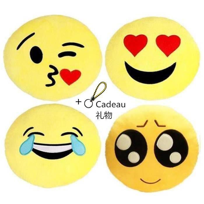 COUSSIN Coussin Emoji 4 Pièces 32CM , Emoticône Oreillers