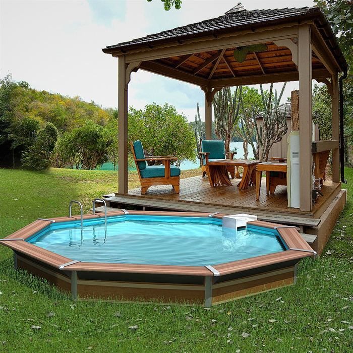Waterclip piscine bois alu 400 x 147 optimum achat for Achat piscine bois
