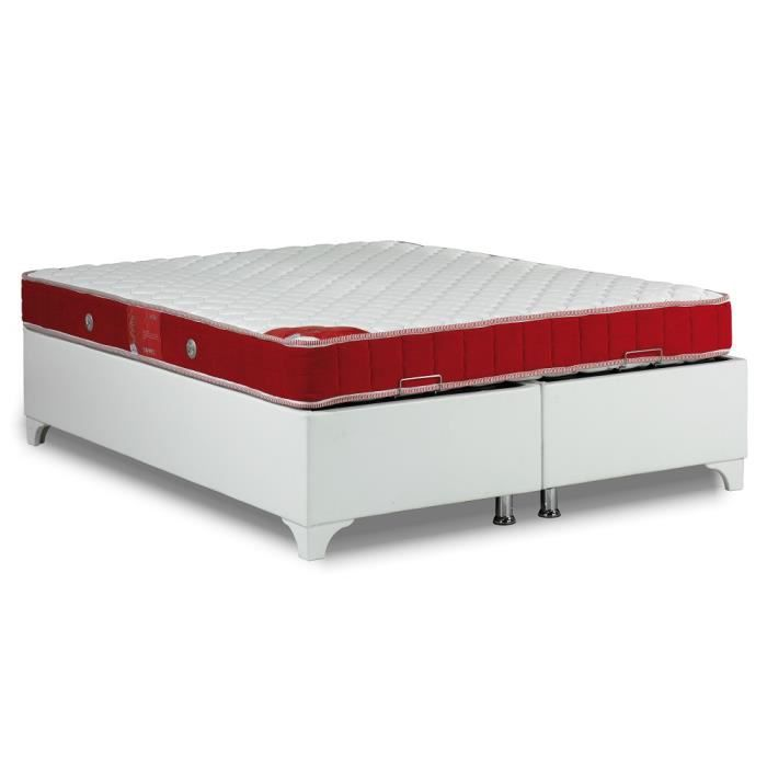 Ensemble sommier lit coffre blanc smart matelas red line 90 190 1 place a - Ensemble lit et sommier ...