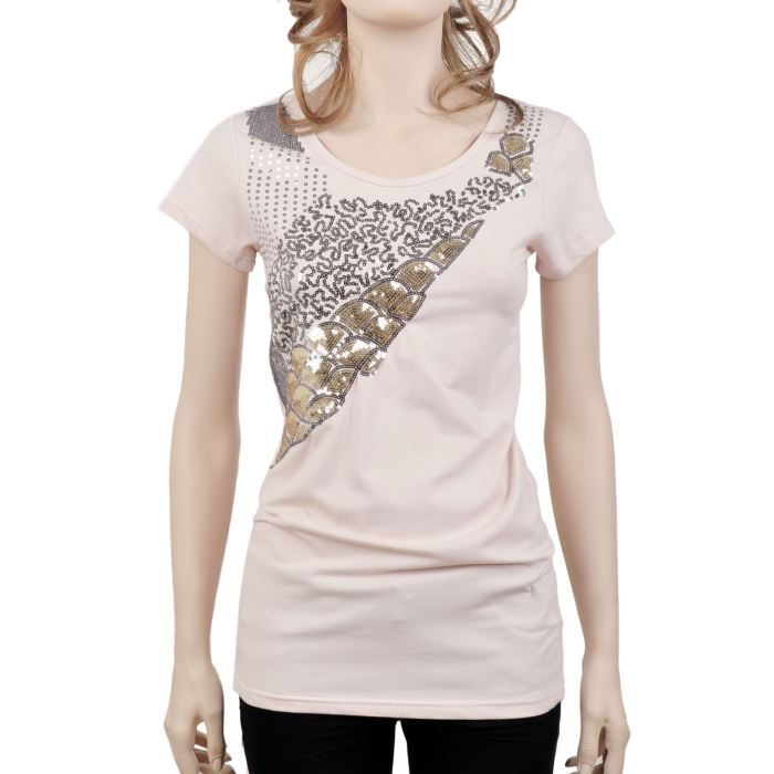 tee shirt avec sequins rose rose achat vente t. Black Bedroom Furniture Sets. Home Design Ideas