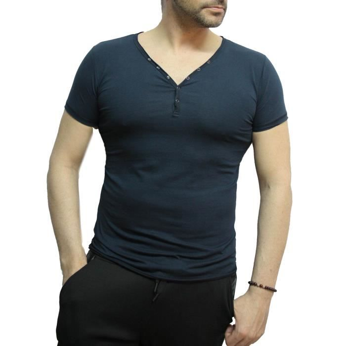 tee shirt homme t col v boutonn idris achat vente t shirt cdiscount. Black Bedroom Furniture Sets. Home Design Ideas