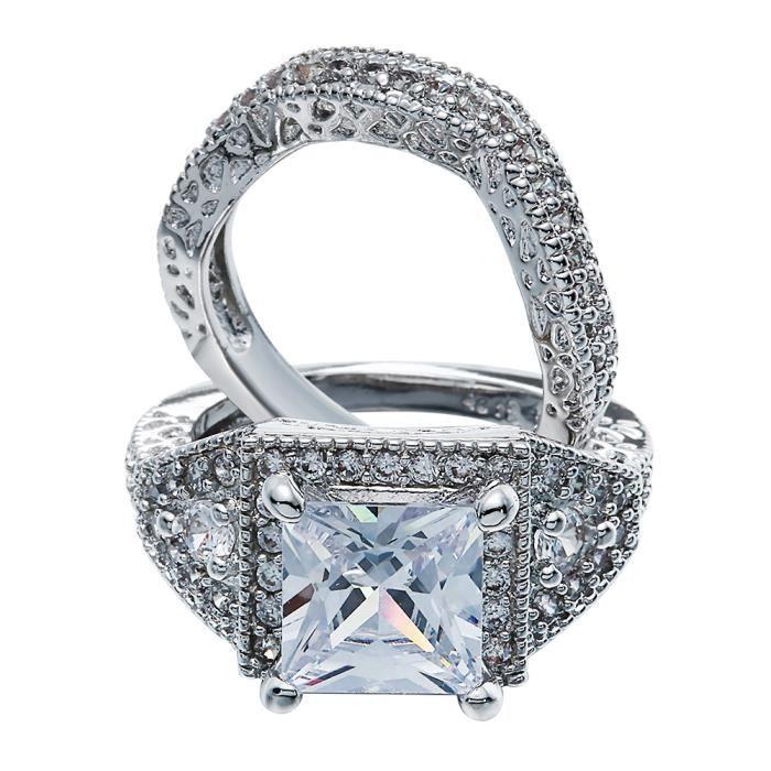 BAGUE - ANNEAU Bague 2 Anneaux Femme Argent 925 Cristal Bijoux Fa