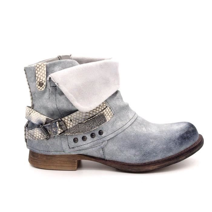 chaussures bottines boots boucle femme bout rond talon plat cuir synth tique bleu bleu argente. Black Bedroom Furniture Sets. Home Design Ideas