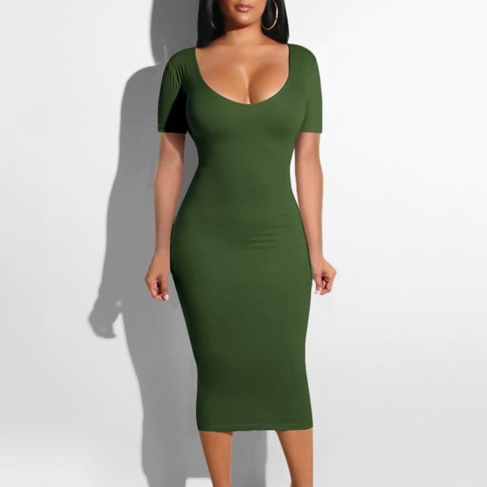 Robe Mi Longue Femmes Sexy O Cou Moulante A Manches Courtes Slim Creux Fold Robe De Cocktail Vert Armee Vert Armee Achat Vente Robe Cdiscount