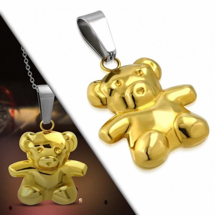 Pendentif en acier inoxydable doré ours en peluche