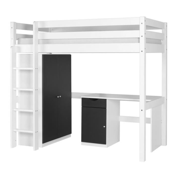 set wood lit mezzanine armoire bureau blanc achat vente chambre compl te lit armoire. Black Bedroom Furniture Sets. Home Design Ideas