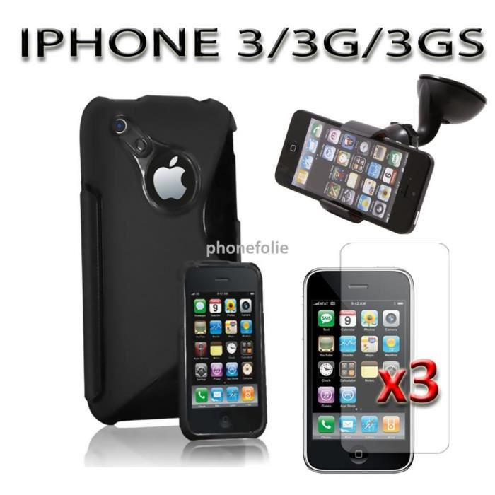 Lot 5 accessoires apple iphone 3g 3gs achat housse for Housse iphone 3gs