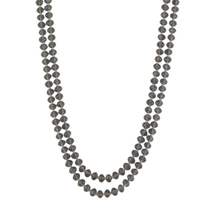 Womens Beads Jewellery Grey Crystal Multi-strand Necklace For (12531) PTUDR