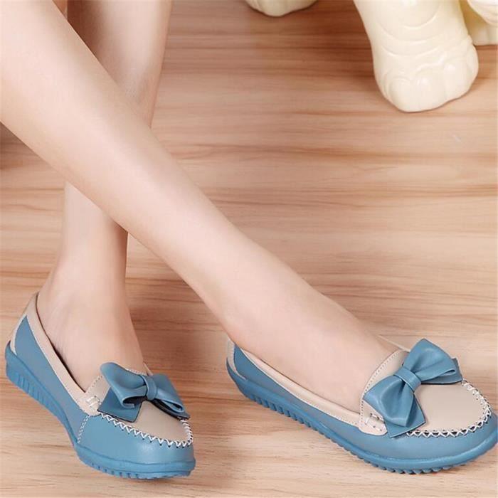 Mocassin Femmes Cuir Talon plat Leger Chaussure BYLG-XZ048Bleu35
