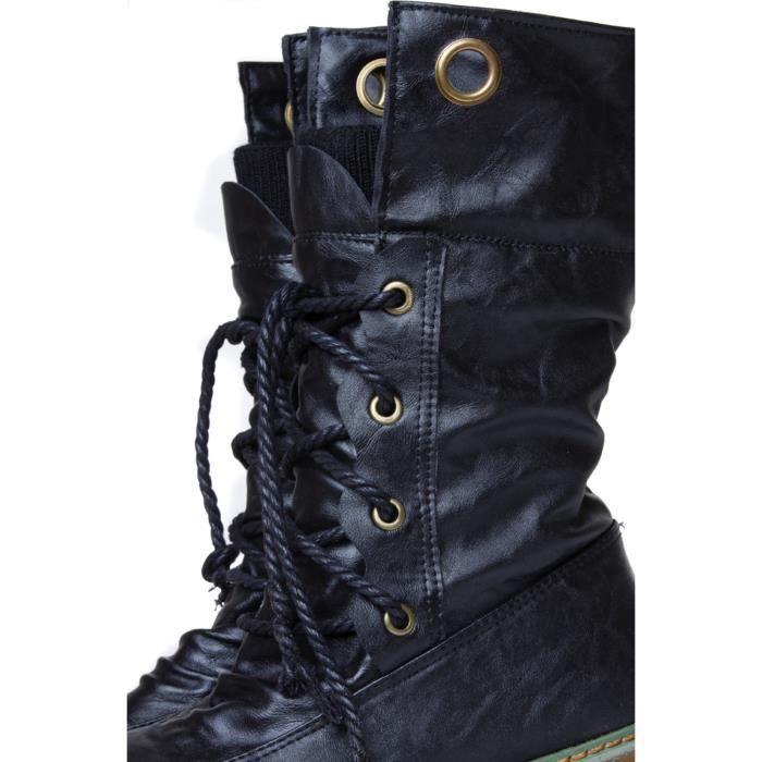 Femmes Hiver Mode Martin Bandage Bottes Femme Bottines Femme Casual Chaussures Noir WE622