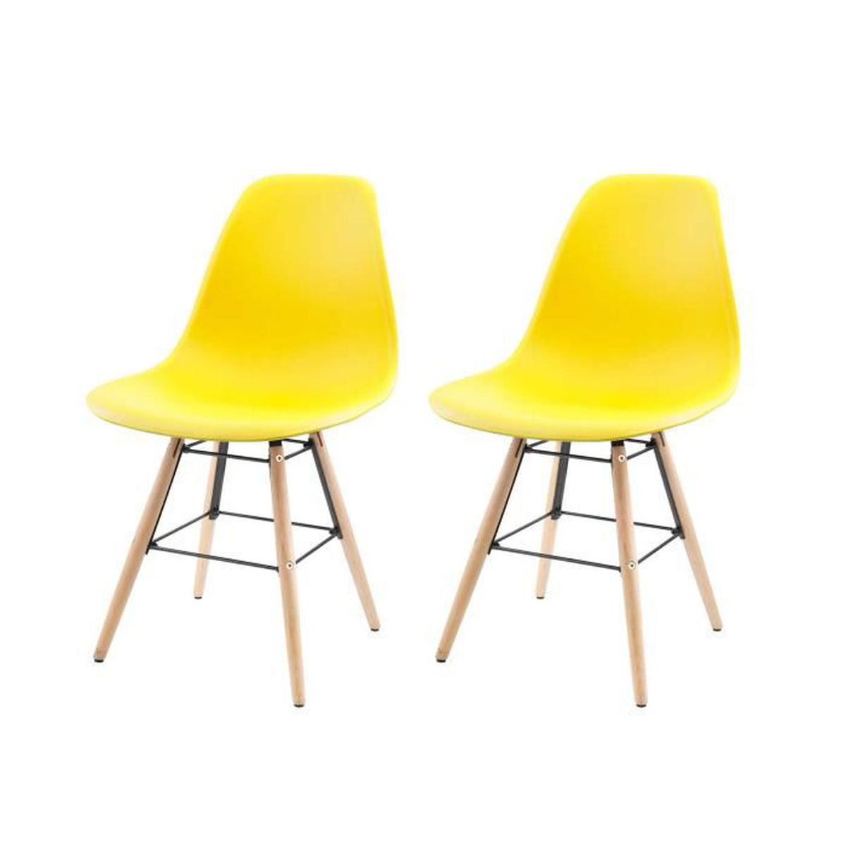 chaise lot de 2 chaises scandinaves gasoline avec pitrem - Chaise Jaune Scandinave