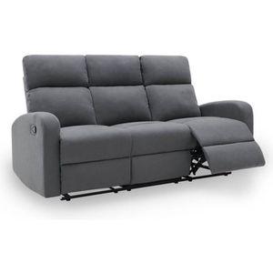 CANAPÉ - SOFA - DIVAN MONA - Canapé 3 places relax en tissu gris