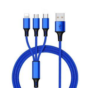 CÂBLE TÉLÉPHONE [1.2 M] Nylon Câble USB Type-C- IOS- Micro USB Câb