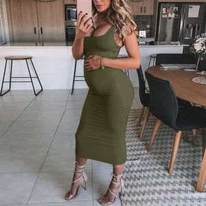 ROBE ROBE Femmes enceintes solides Props Maternité Mate