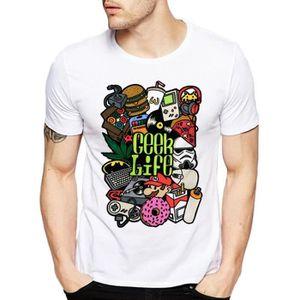 T-SHIRT Marque Hommes T-shirt Geek Life Super Mario Ninten
