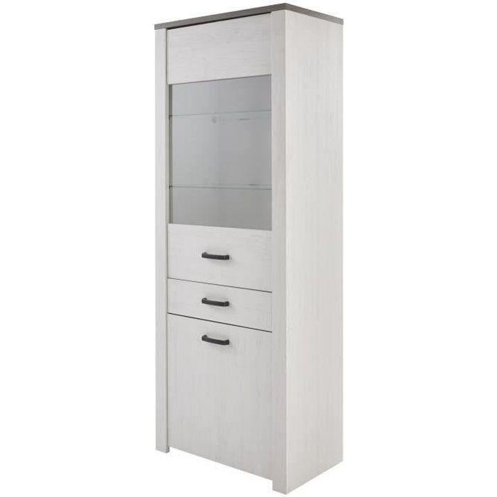 MARQUIS Vitrine style contemporain blanc perle, décor pin et décor chêne - L 75 cm