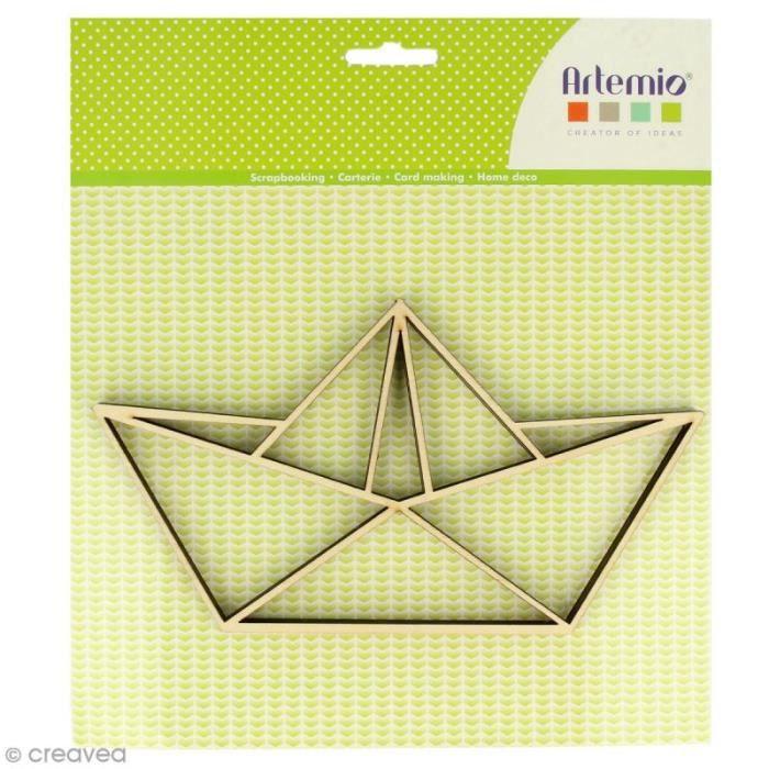 Forme en bois à décorer - Bâteau origami - 20 x 11 cm - 2 pcs