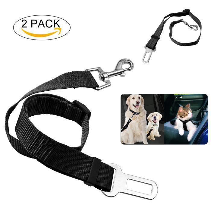 Cocopar harnais voiture chien 2 pièces ceinture de sécurité chien voiture universel laisse ceinture de sécurité-noir