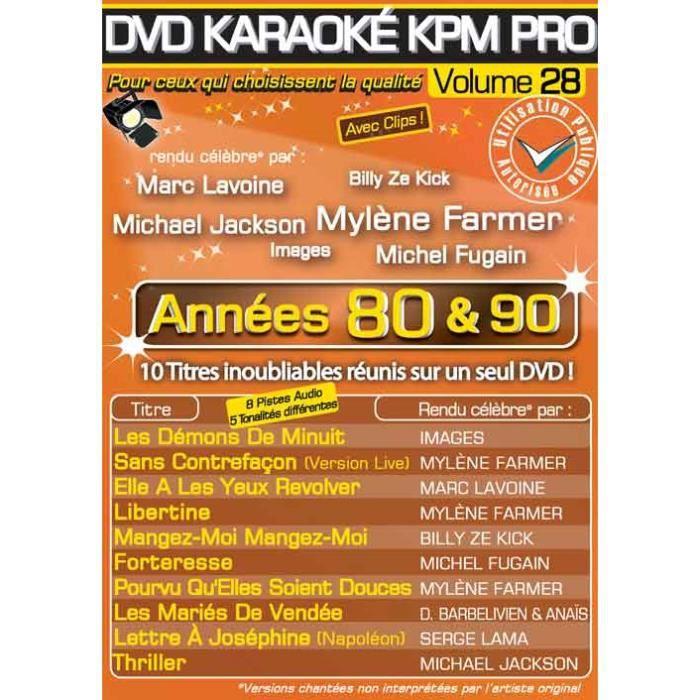 DVD Karaoké KPM Pro Vol.28 -Années 80 & 90-