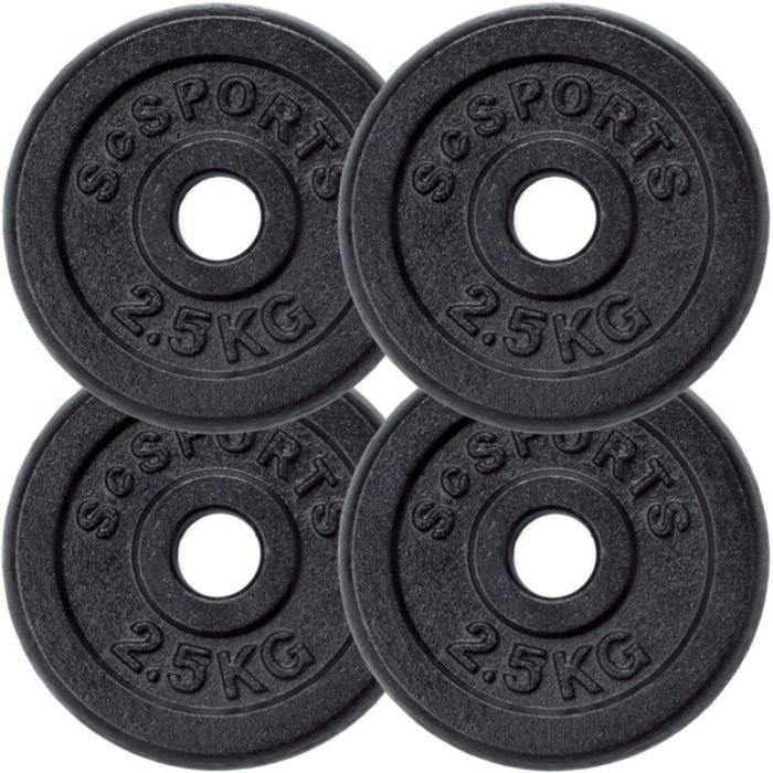 Lot de disques en fonte ScSPORTS - 4 x 2,5 KG (10 KG) ø30 - 31
