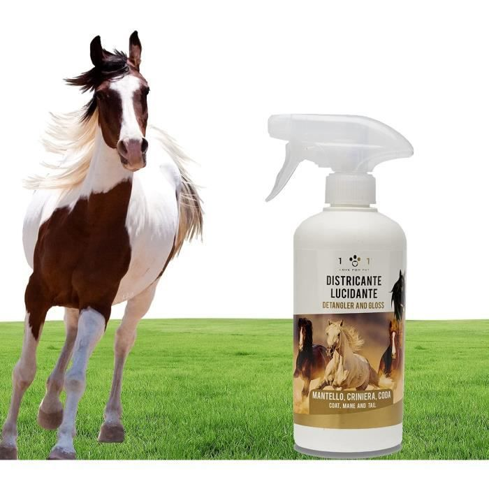 Spray démêlant, nettoyant et lustrant naturel et végétal, 500 ml - pour pelage, crinière, crin et queue de cheval - Nettoie la p401