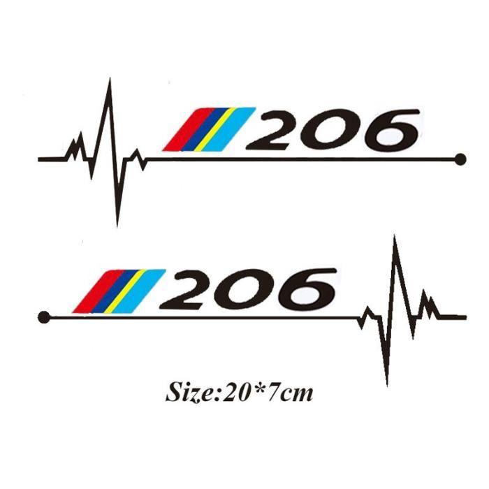 2 pcs-lot Voiture Fenêtres Autocollant Pour Peugeot 106 108 206 208 306 308 508 2008 3008 Accessoires~p206 black LX10663