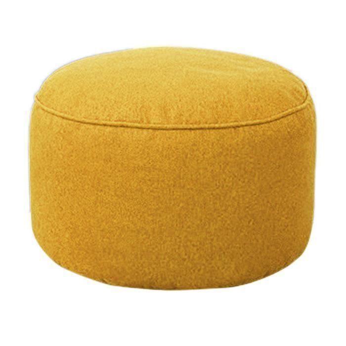 Pouf Canapé Tabouret Rond Couvrir Sacs De Fèves Paresseux de Sofa Coton Couverture Jaune ma30121