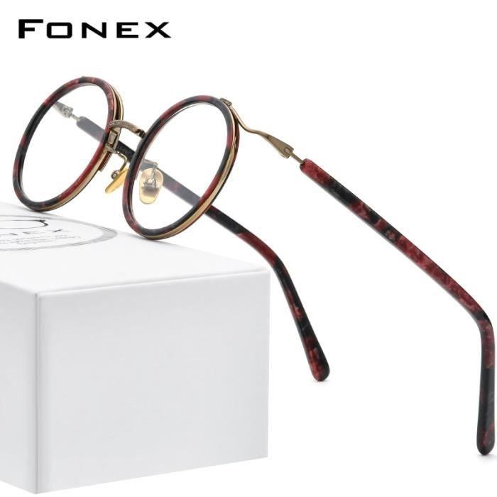 Montures de Lunettes de vue,FONEX acétate titane lunettes monture femmes 2020 nouveau rond Prescription lunettes - Type MULTI