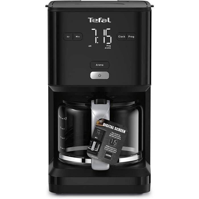 TEFAL SMART'N LIGHT cafetière électrique noire 1,25 L Programmable 24h Fonction Aroma Auto-off après 30 minutes anti-goutte CM600810