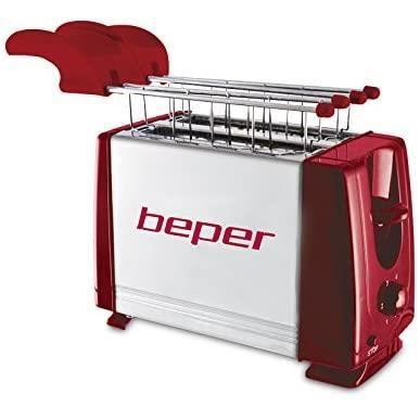 BEPER 90.482H Grille Pain Toasteur, 700 W, Rouge/Argent [Classe énergétique A+++]