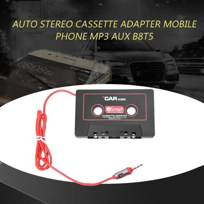 Accessoire audio - vidéo,Système Audio de voiture, adaptateur Cassette pour téléphone portable MP3 AUX B8T5, couleur rouge noir -C