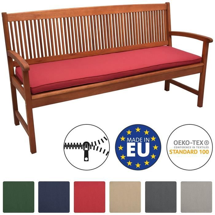 Beautissu Coussin Banc Banquette Loft BK 180x48x5 cm - Rouge - Jardin Terrasse Balcon Extérieur - Haute qualité