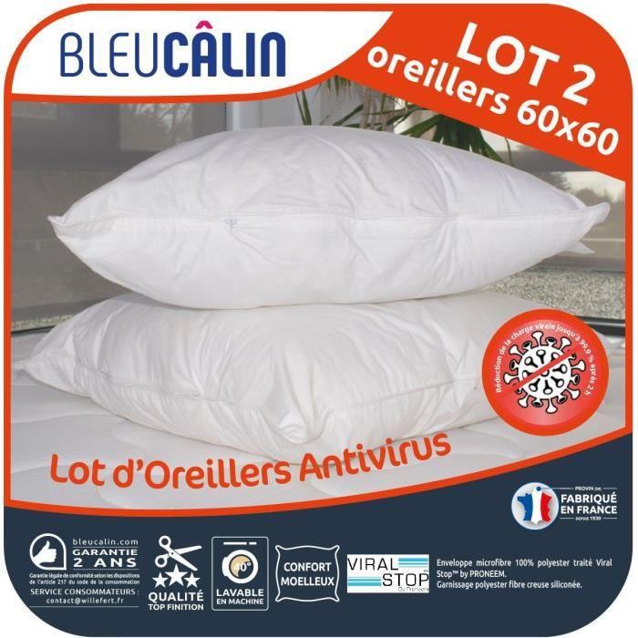 BLEU CALIN Lot de 2 Oreillers 60x60cm Antivirus - Blanc