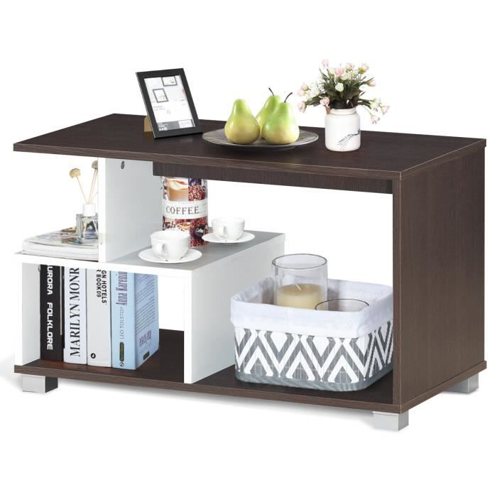 COSTWAY Table Basse avec 3 Etagères de Rangement de Style Moderne 80 × 40 ×48 CM en Couleur Marron et Blanc