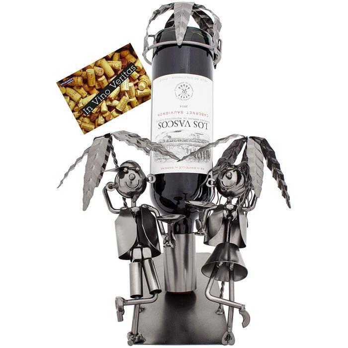 Brubaker - Porte-Bouteille de vin - Vacances sous Les Palmiers - Métal - Carte de vœux Incluse - Idée Cadeau Originale - Objet