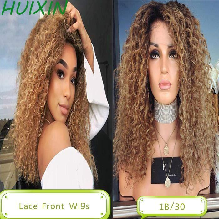 22 Pouces Perruques Lace Front Cheveux humains Deep Curly indiens Ombre 1B/30 Honey Blonde Cheveux bouclés