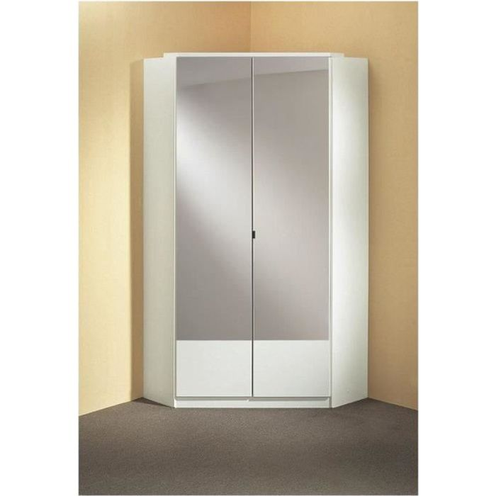 Armoire dressing d'angle DINGLE 2 portes miroirs 95*95 blanche blanc Bois Inside75